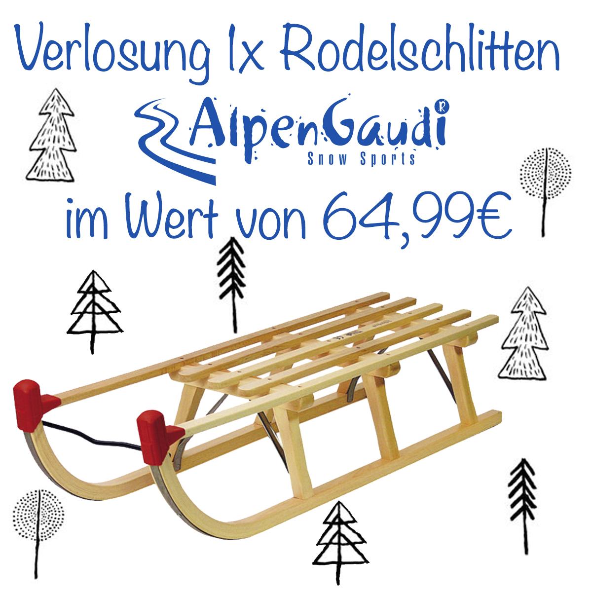 Alpengaudi Schlitten Verlosung jetzt auf www.pinspiration.de
