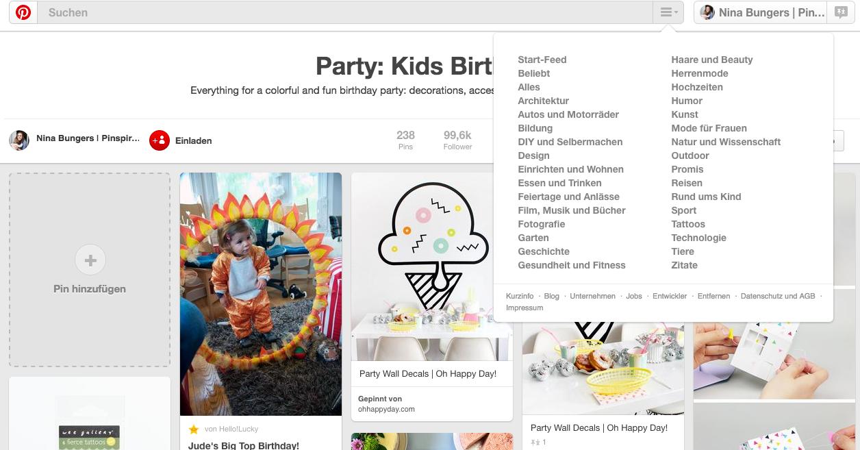 Kindergeburtstag planen mit Pinterest: In Kategorien suchen