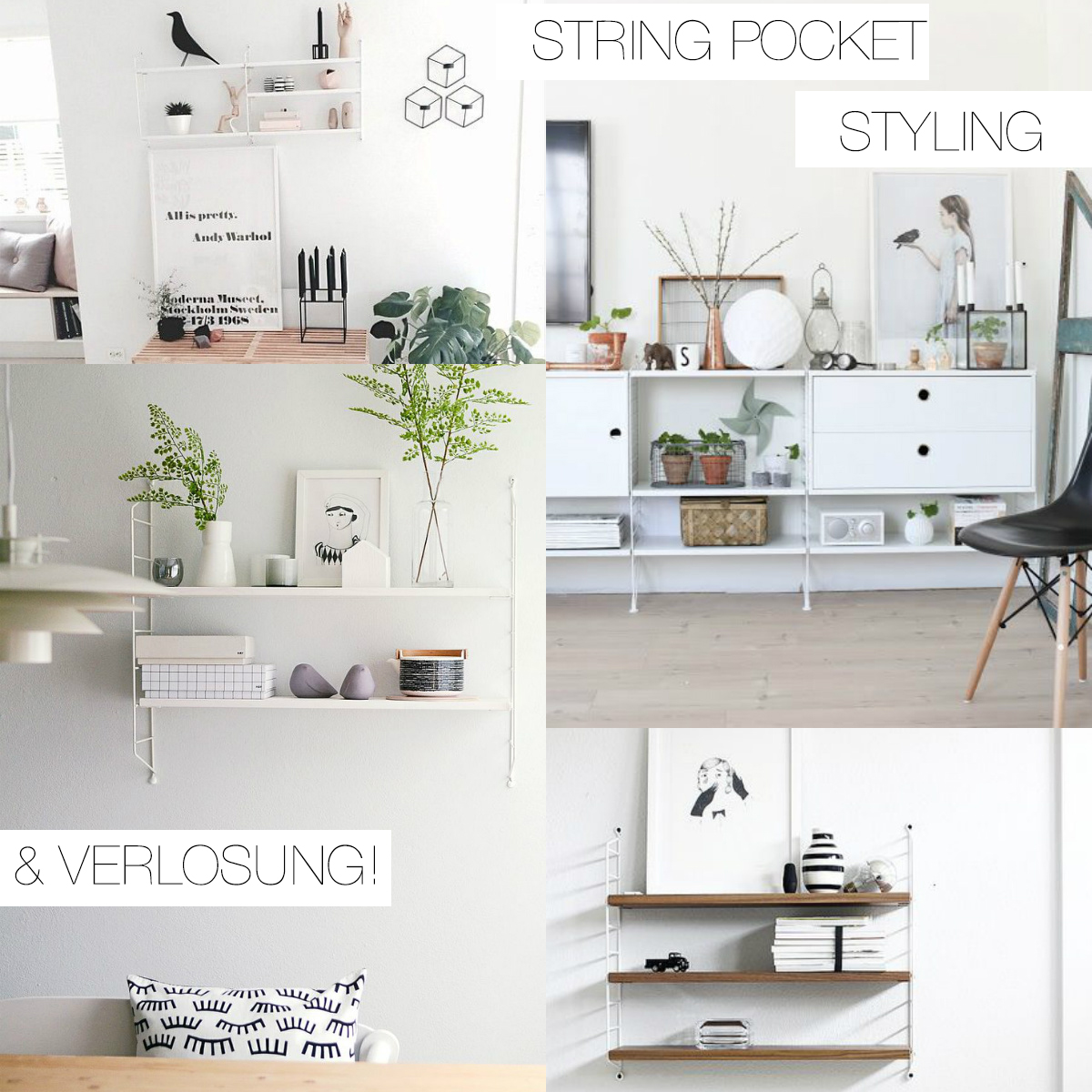 Elegant Collage String Pocket Regal Verlosung Inkl.