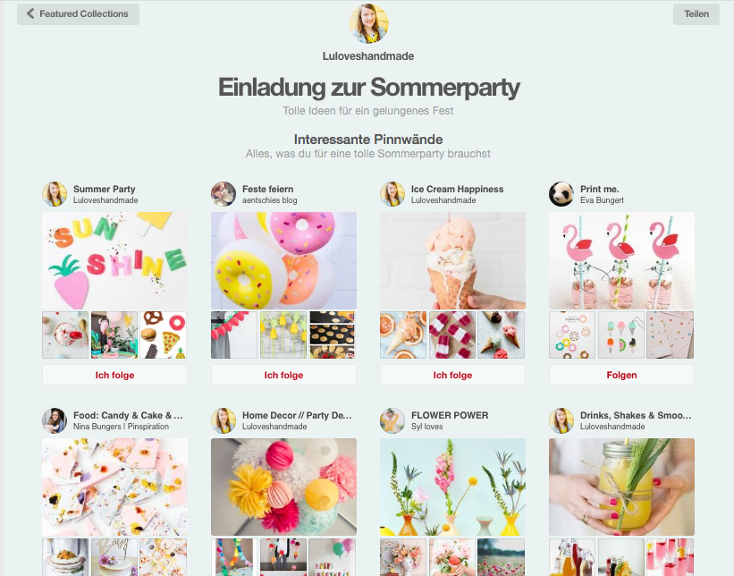 Featured Collections auf Pinterest