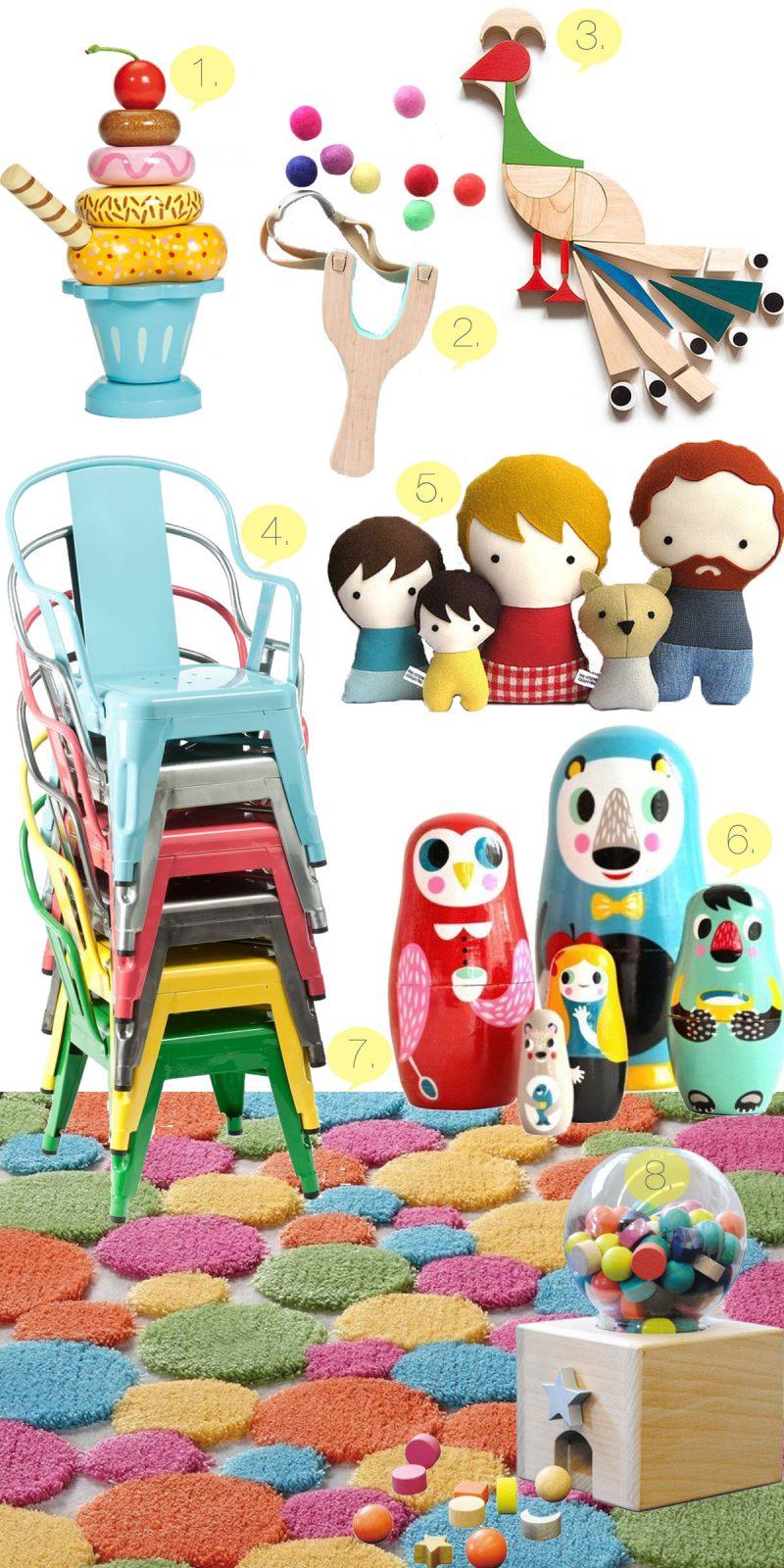 Collage Esprit Kinderteppich und Holz Spielzeuge