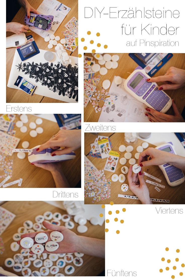 Collage DIY Erzaehlsteine für Kleinkinder mit Stickern und brother ptouch | Pinspiration