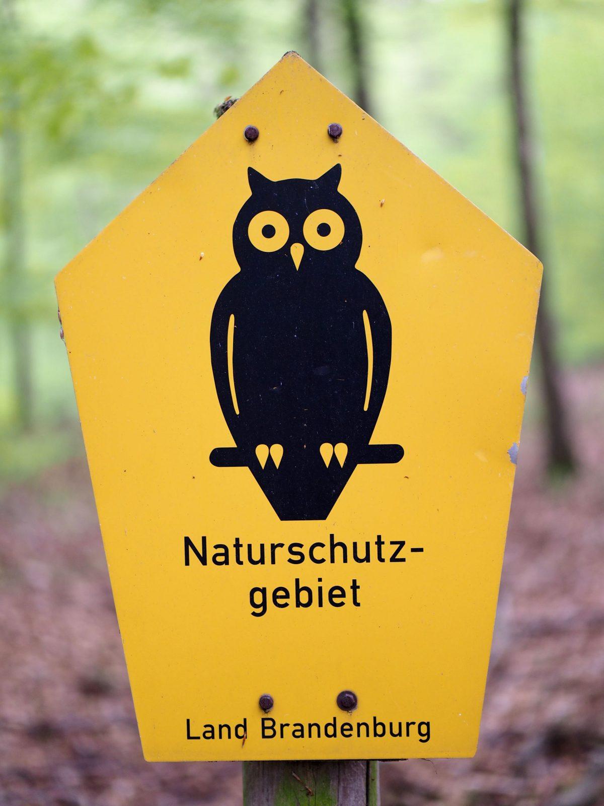 Naturschutzgebiet Brandenburg Schild