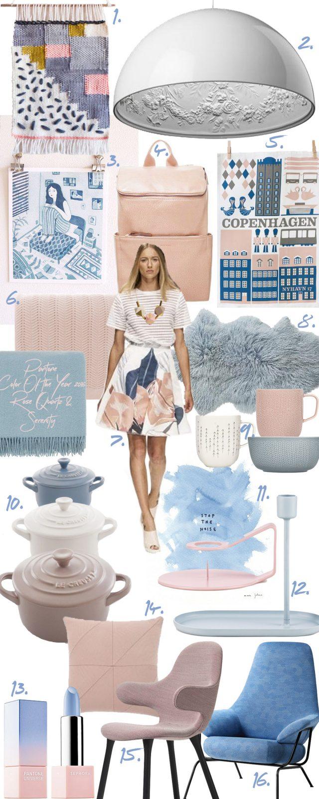 Pantone Color of the year 2016: Rose Quartz & Serenity