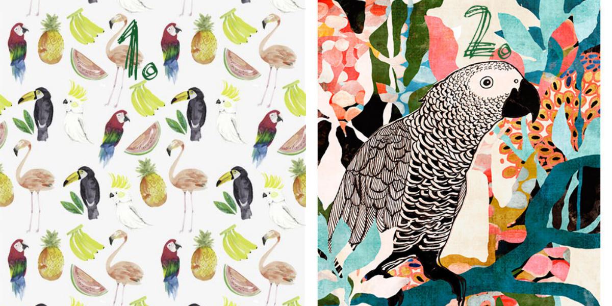 Papagei Flamingo Collage