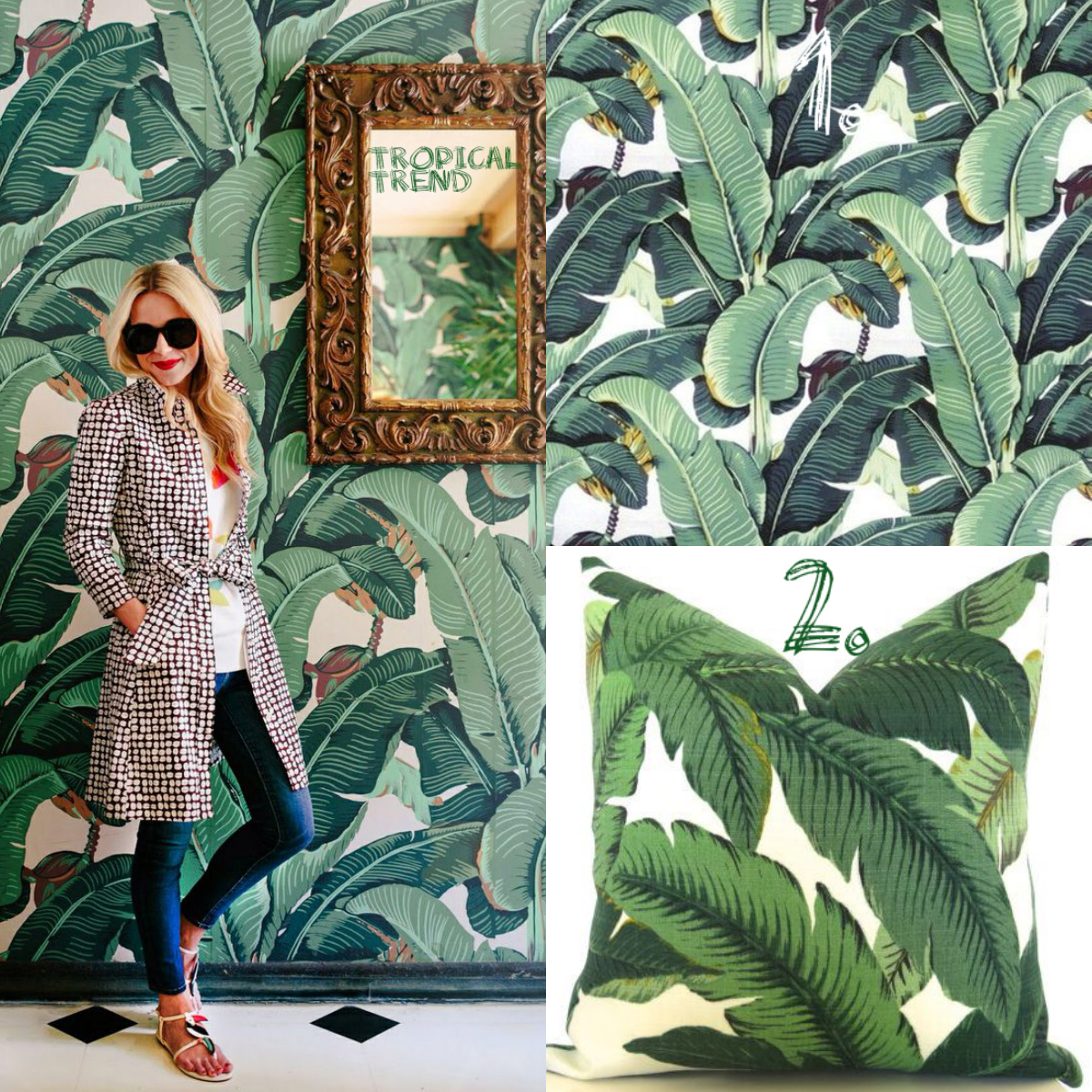 Tropical Trend wallpaper Collage woman pillow