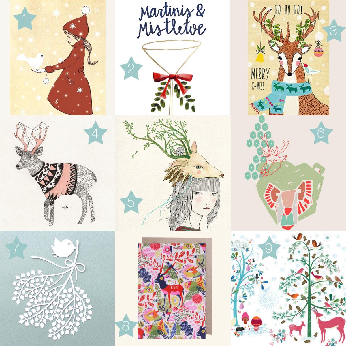 Weihnachtskarten-Illustrationen-Moodboard