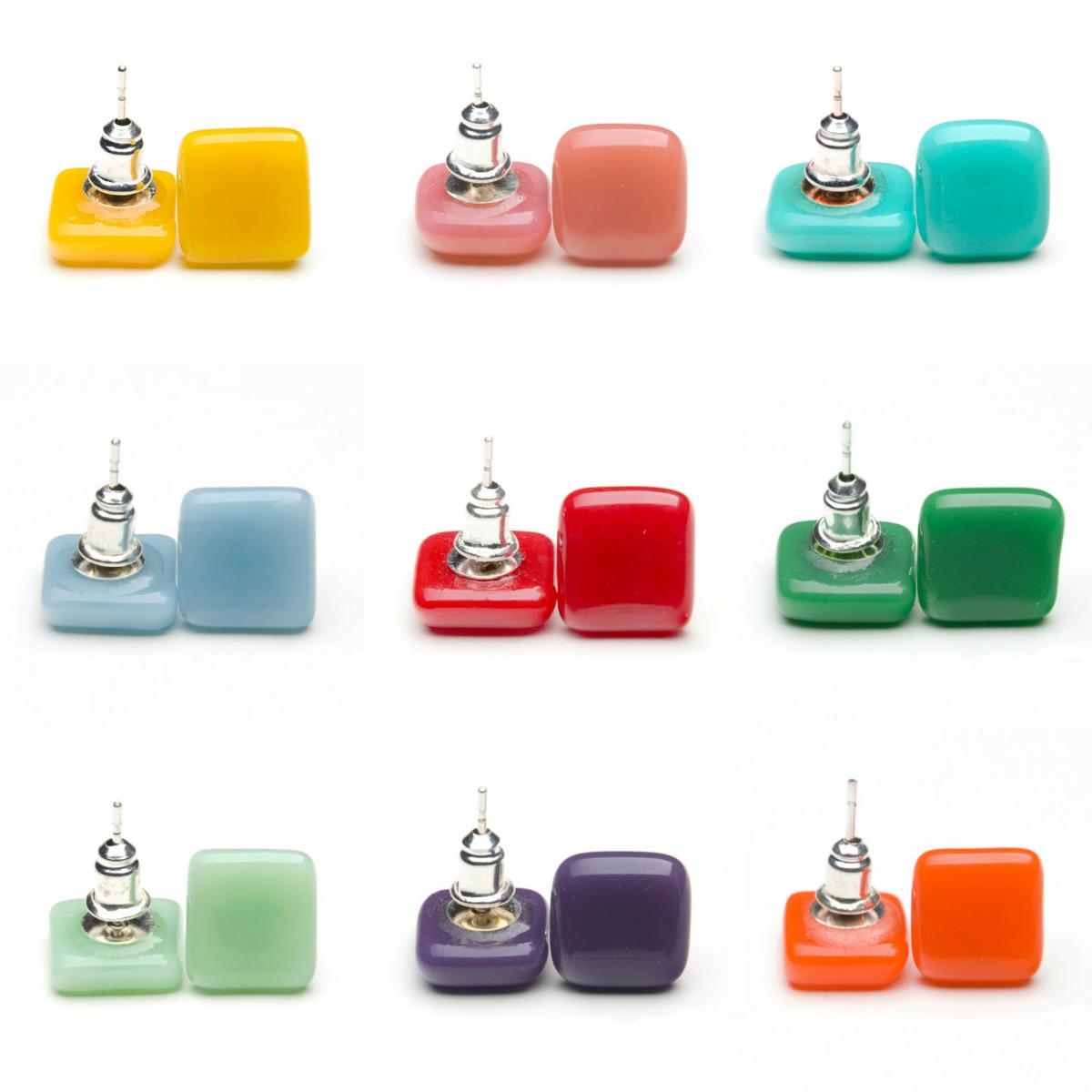 Collage bold color glass Ohrringe