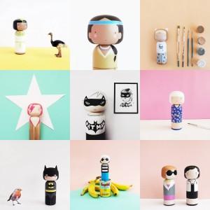 collage sketchinc custom kokeshi dolls